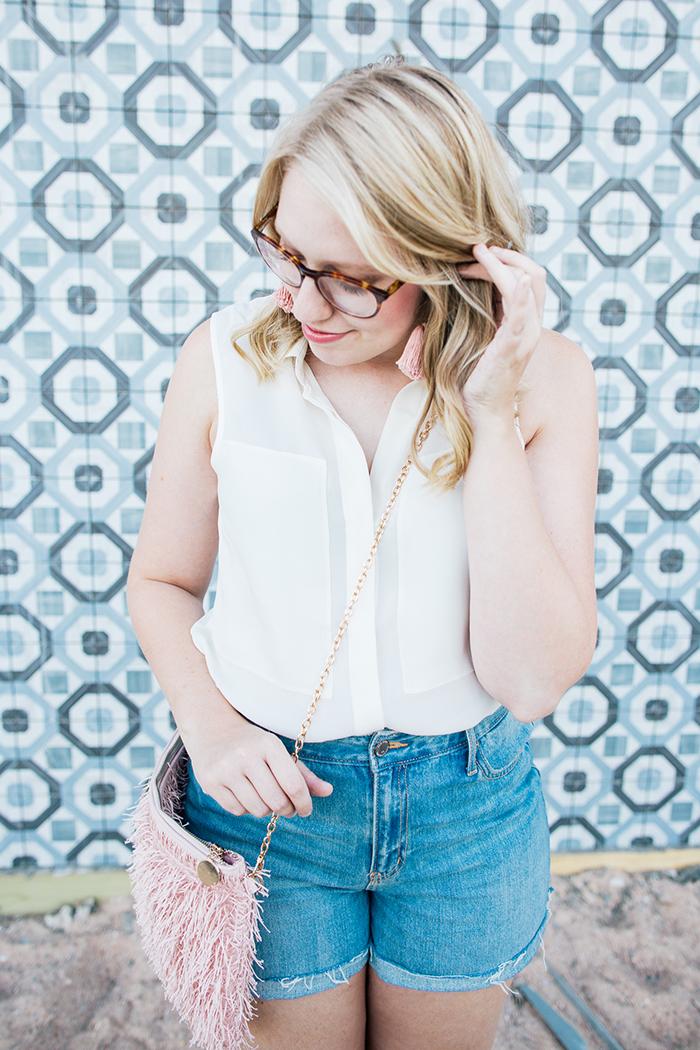 theory blouse denim shorts9