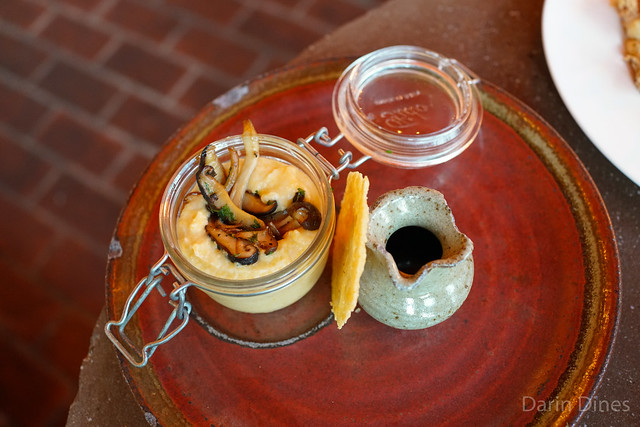 """""""Polenta Under Glass"""" Caramelized wild mushrooms with balsamic game sauce and parmigiano frico"""