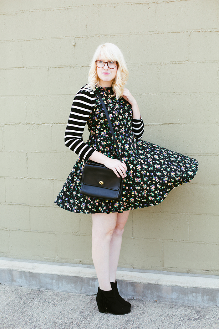writes like a girl floral dress striped shirt4