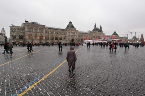 Looking across Red Square to the GUM department store