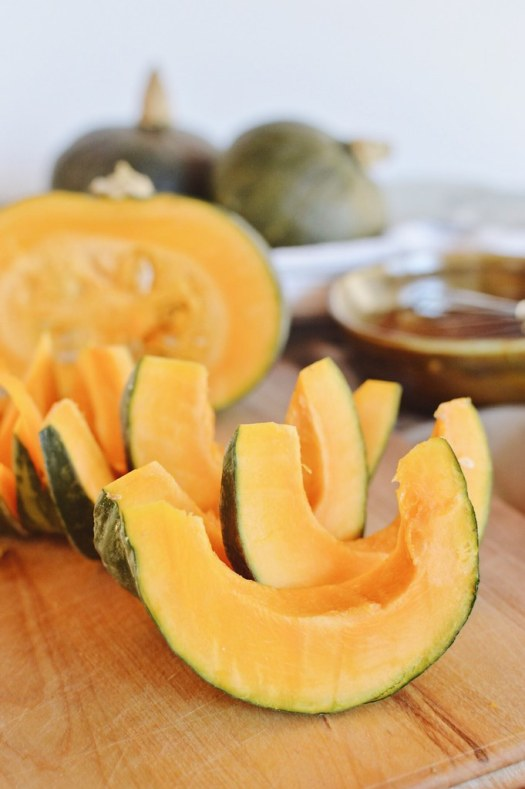 kabocha squash sliced into wedges