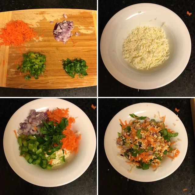Step by step preparation of veggie cheese sandwich