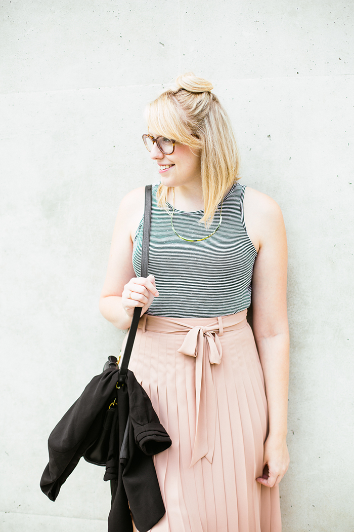 black blazer striped tank blush midi skirt9