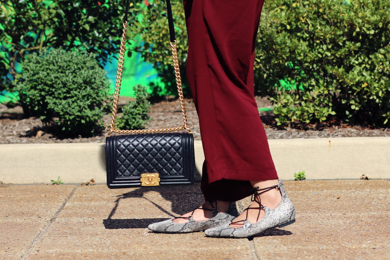 laceup-flats-burgundy-culottes-chanel-bag-4