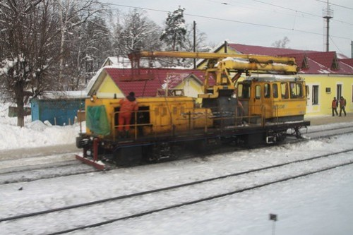 Ukrainian Railways track machine for accessing the overhead wires