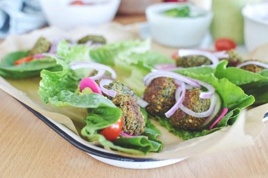 Baked falafel lettuce wraps