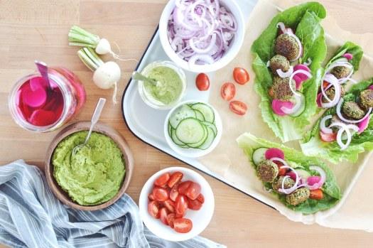 Assembled baked falafel lettuce wraps