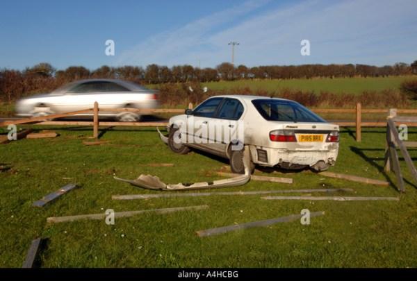 Car crash through fence, Britain, UK, RTA, RTC, traffic ...