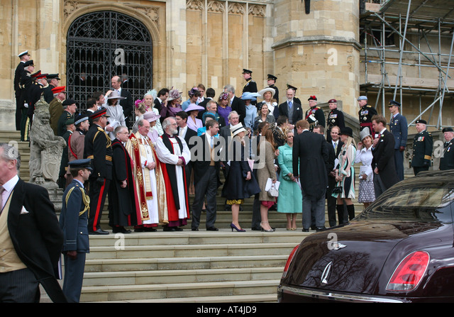 The Royal family with the Archbishop Rowan Williams at Windsor Castle for wedding of Prince Charles and Camilla Stock Photo