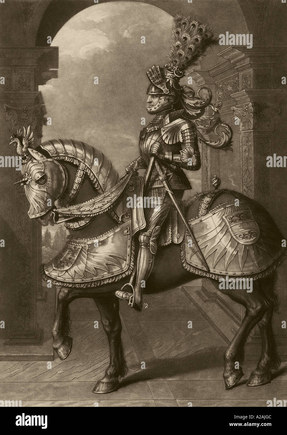 King knight in armor armour on horse horseback steed charger Stock Photo