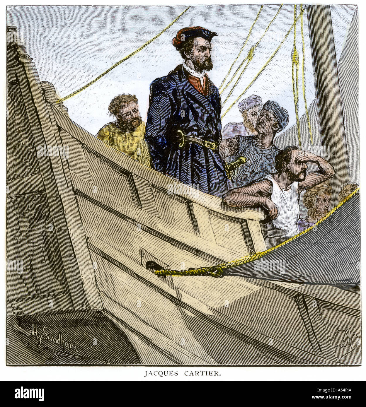Jacques Cartier Aboard Ship Arriving On The Shore Of