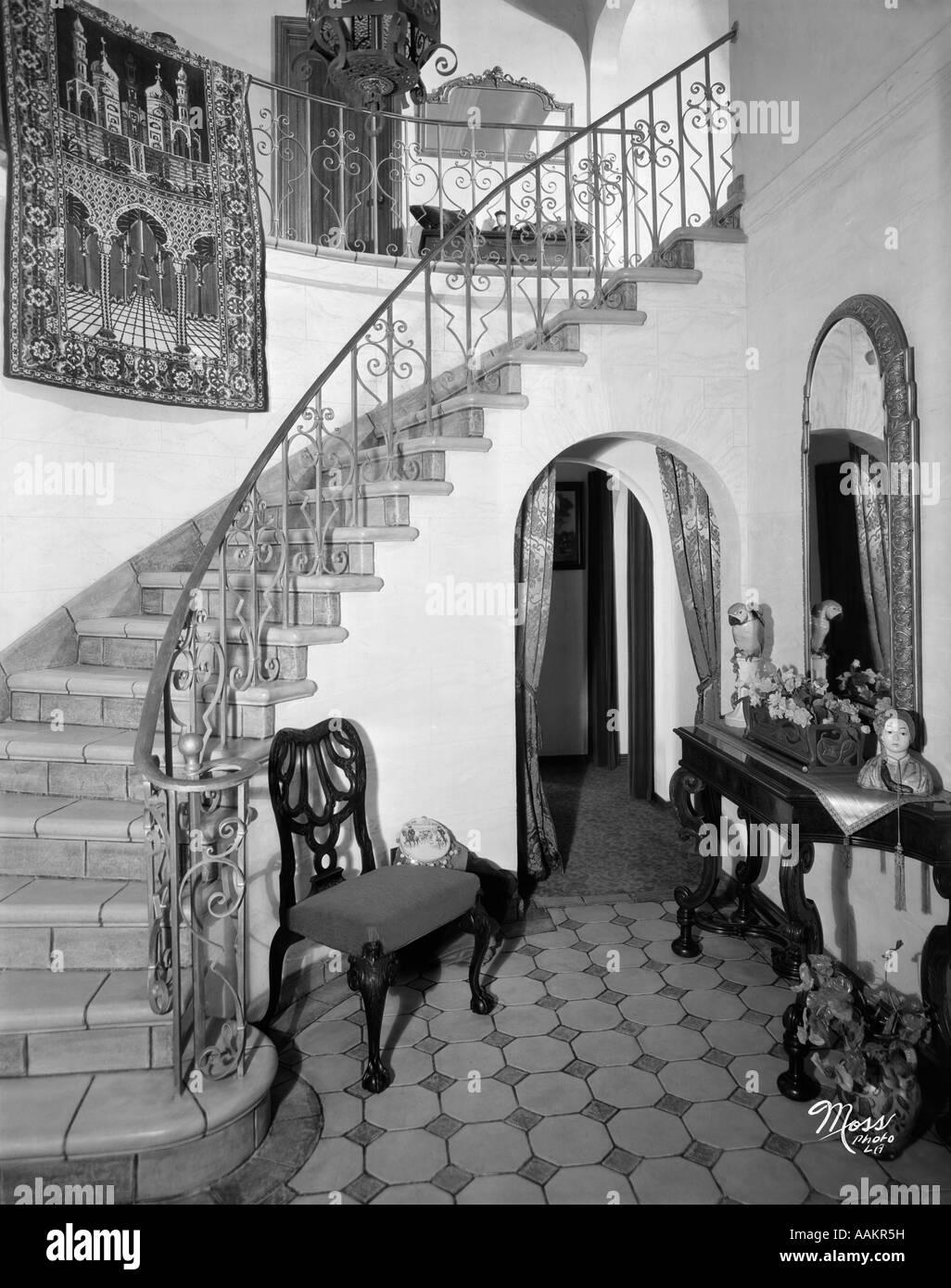 1920s Interior Staircase Wrought Iron Railing Stock Photo