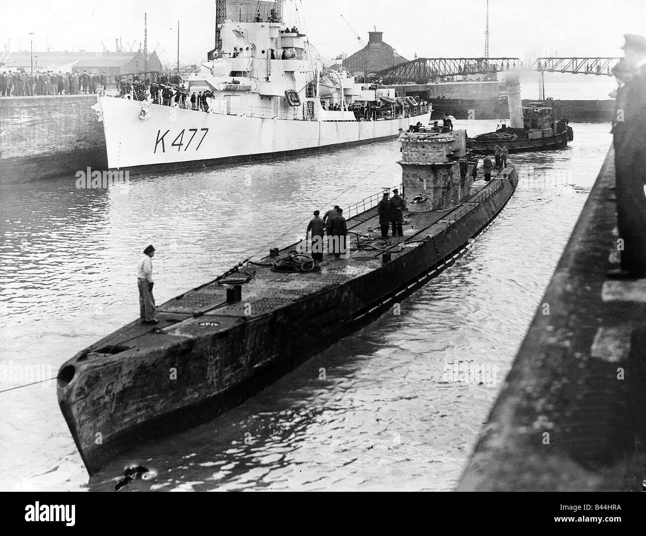 A Captured German U Boat In A Gladstone Dock After Being