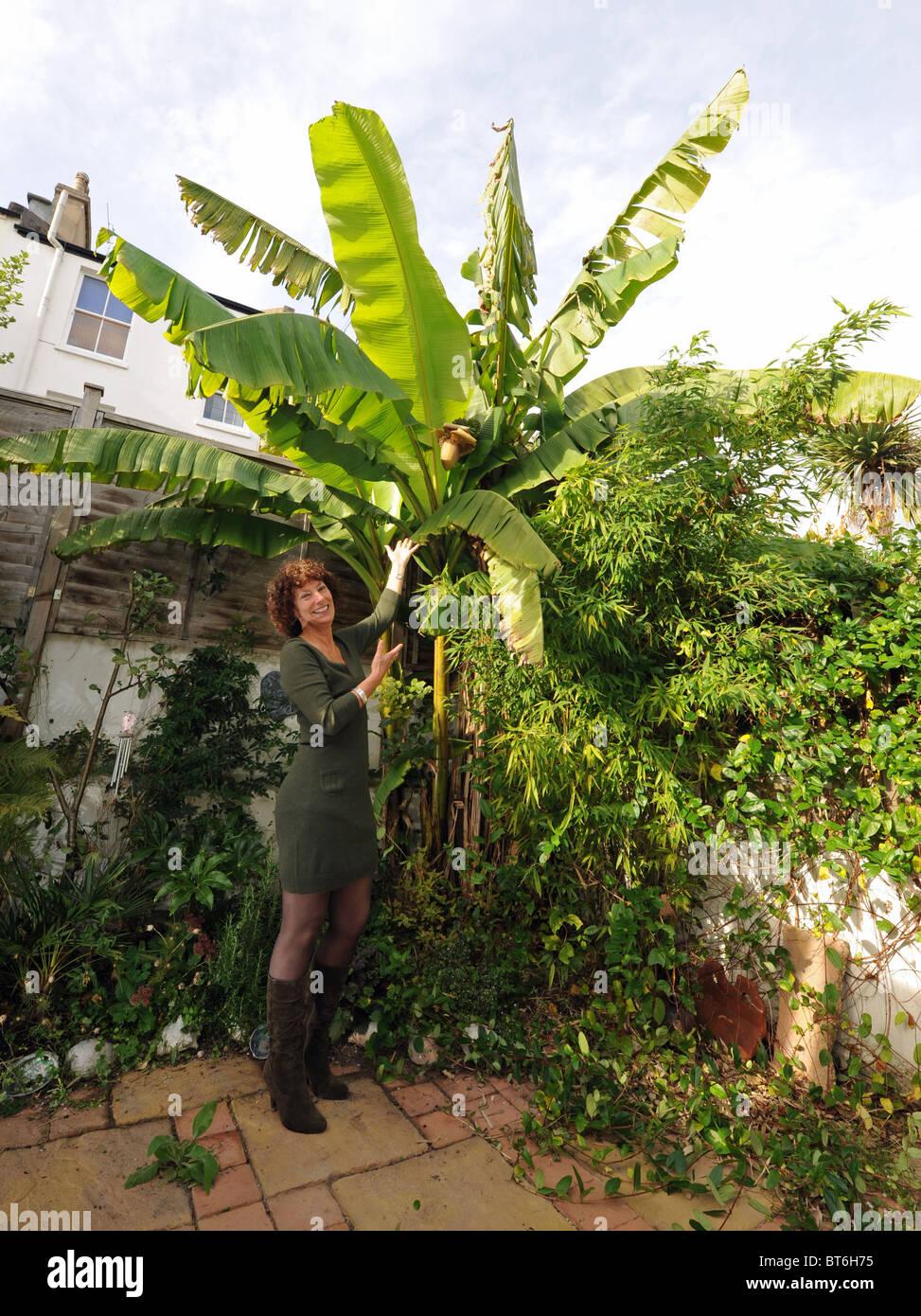 Hilary Masters With Her Musa Basjoo Tree Or Banana Tree At