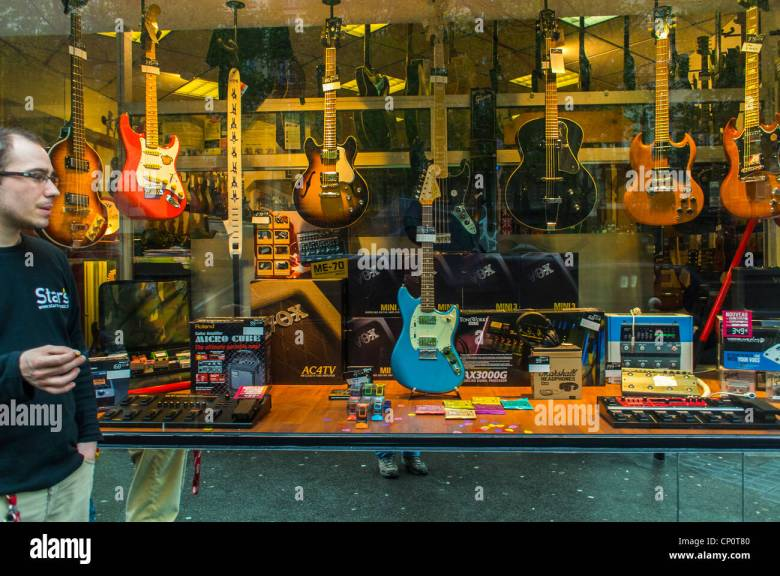 paris, france, shop front window display, french musical instruments