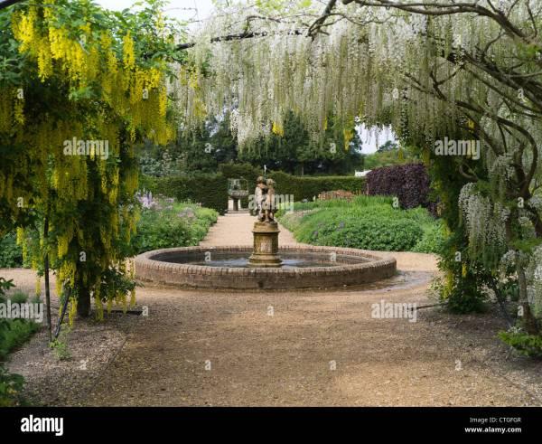 victorian garden fountain dh Victorian flower garden BEAULIEU HAMPSHIRE Fountain