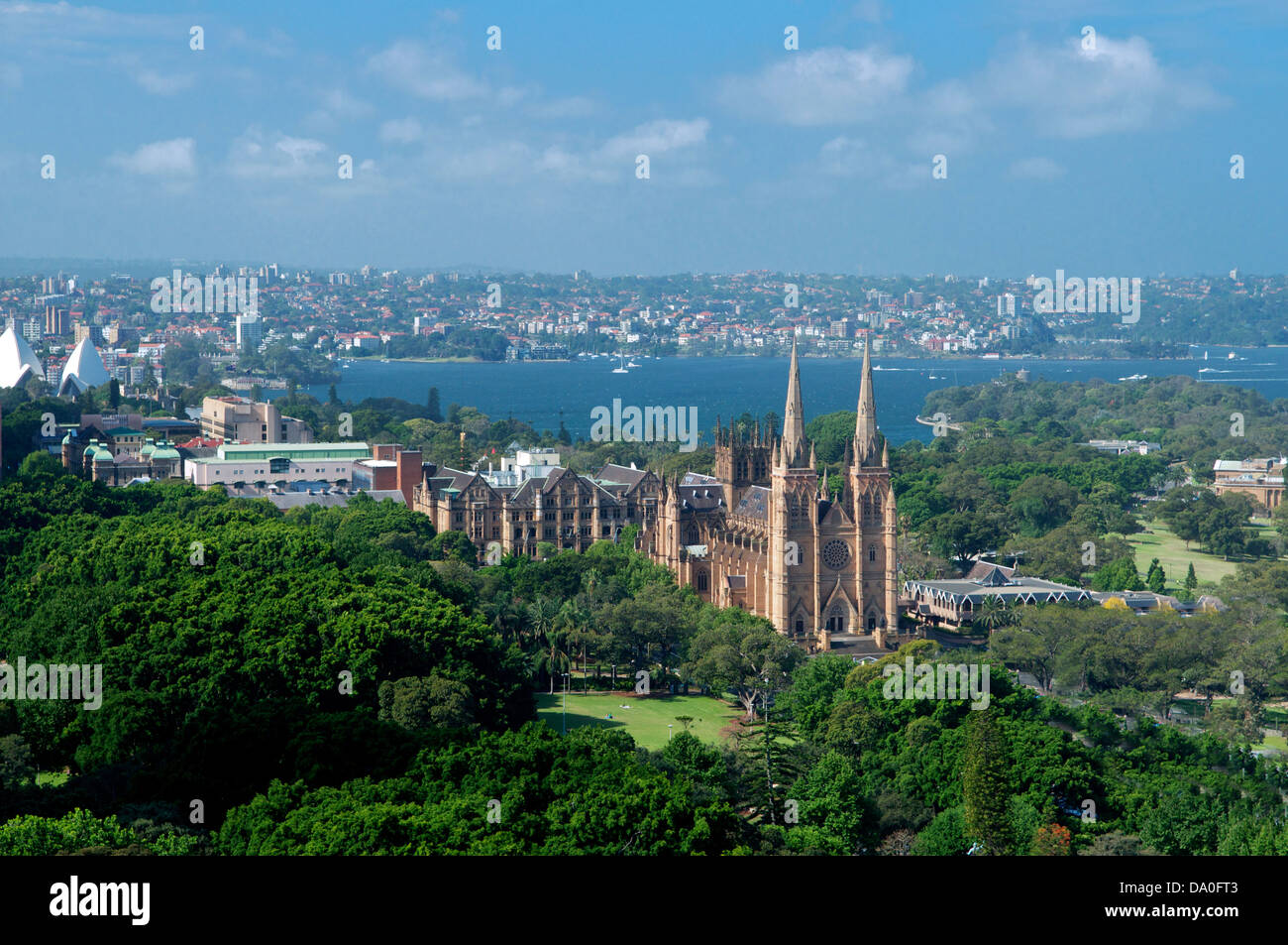 Aerial View Hyde Park And St Marys Cathedral Sydney New