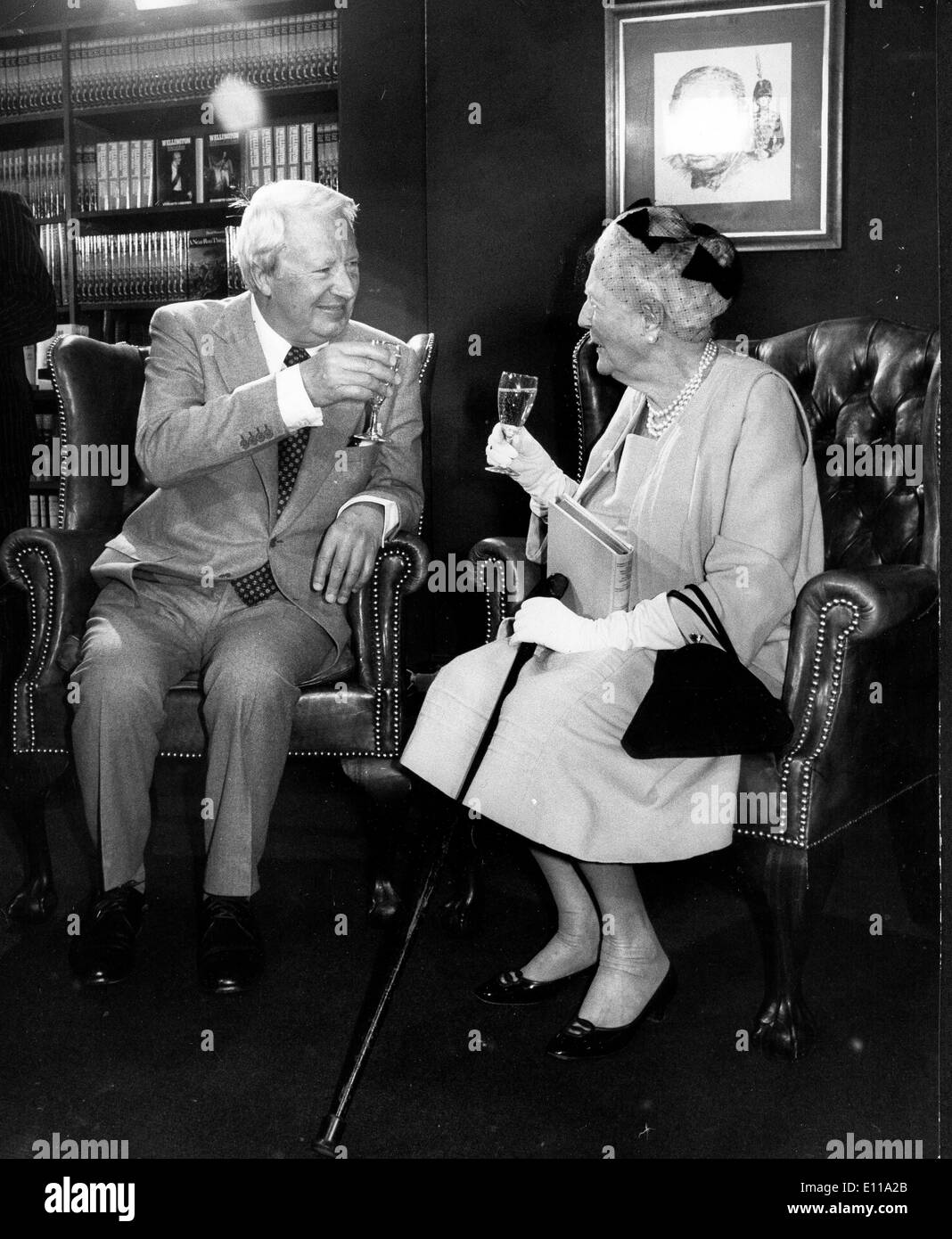 Lady Clementine Churchill toasts Edward Heath Stock Photo