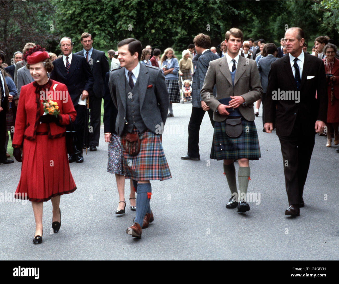 Royalty - Queen Elizabeth II and Prince Edward - Gordonstoun School Stock Photo