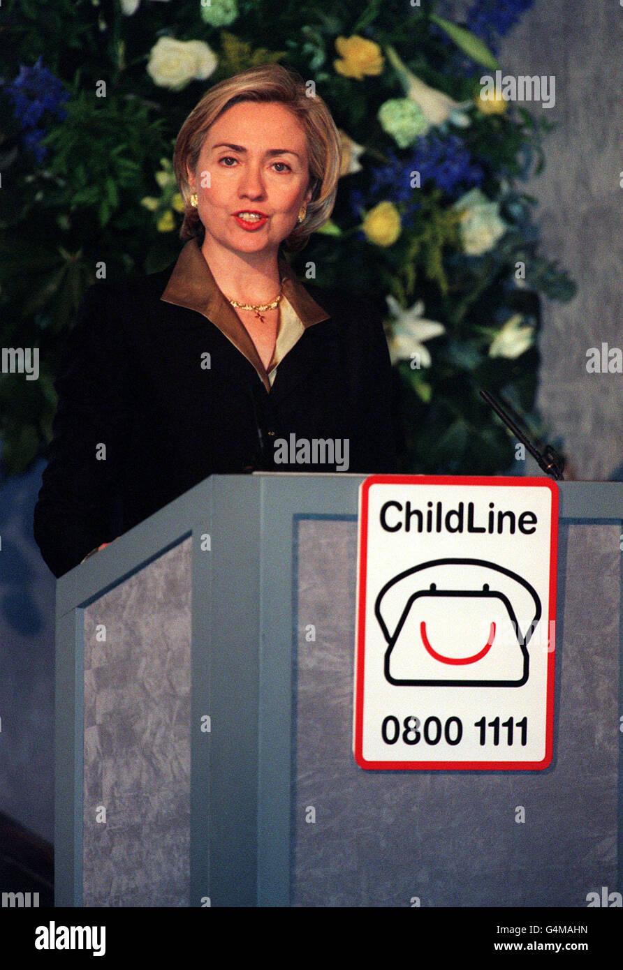 ChildLine/Hillary Clinton speech Stock Photo
