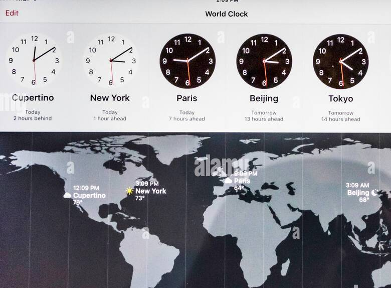 HD Decor Images » A map and clocks showing time across the world  Seen on an iPad Air     A map and clocks showing time across the world  Seen on an iPad Air  USA