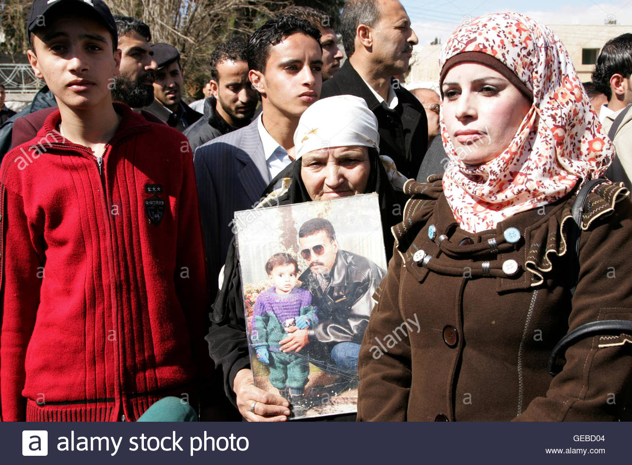 Relatives of Ahmed Daqamseh, a Jordanian soldier who was sentenced to life imprisonment for shooting dead seven Stock Photo