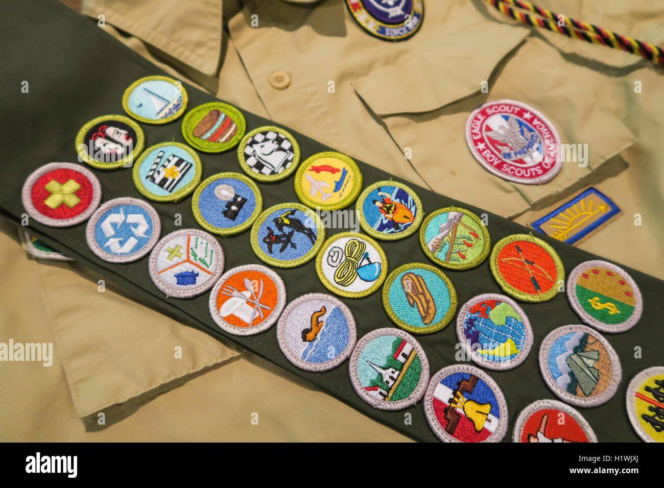 Merit Badge Sash Boy Scouts Of America Usa Stock Photo