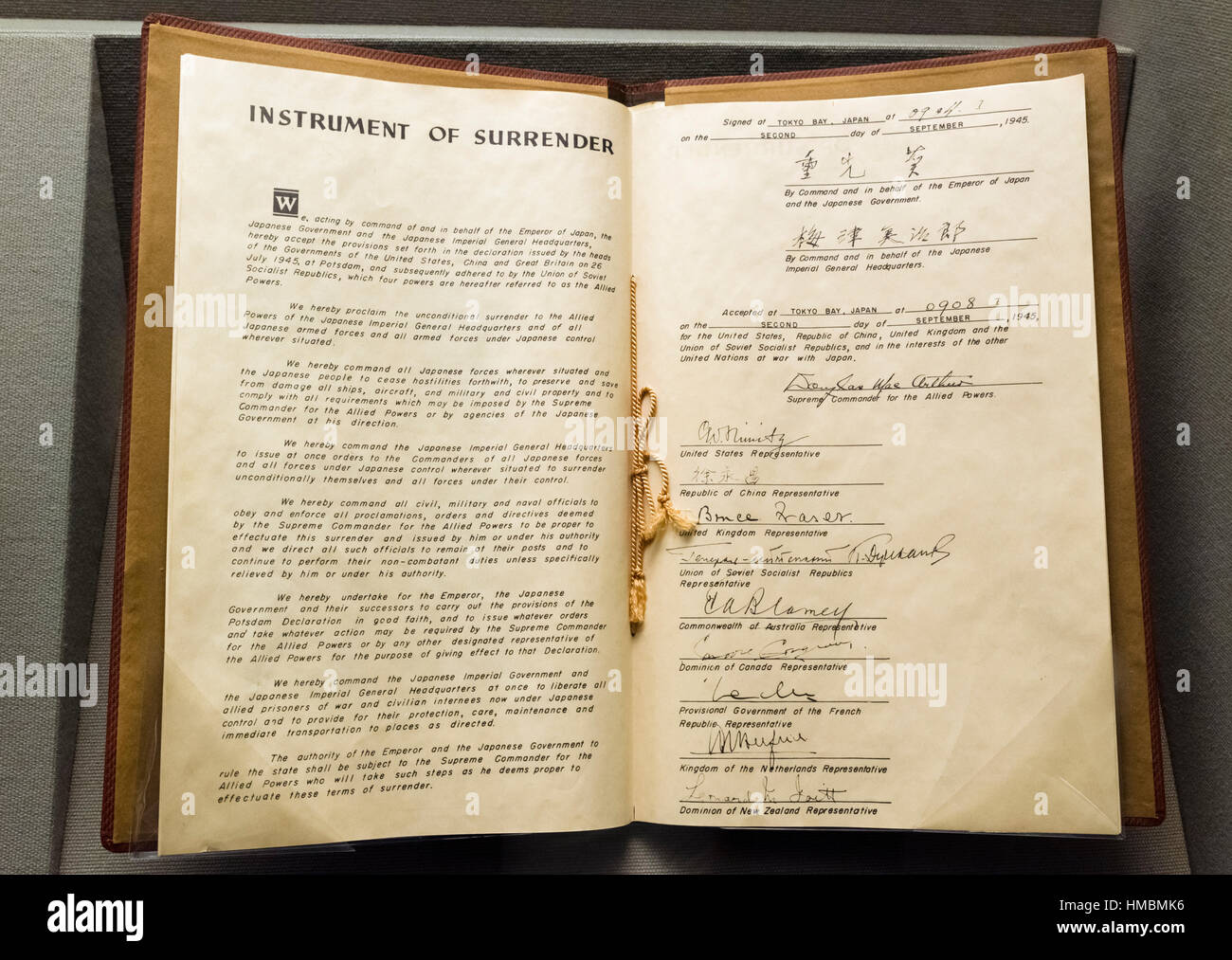 Facsimile Copy Of The Japanese Instrument Of Surrender Which Marked Stock Photo
