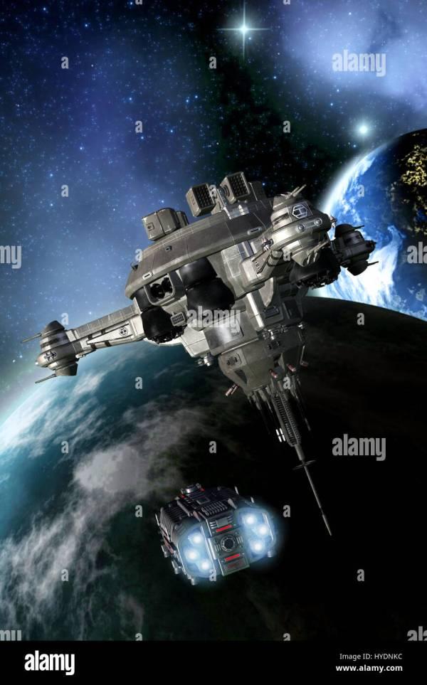 space battle station 3D render science fiction