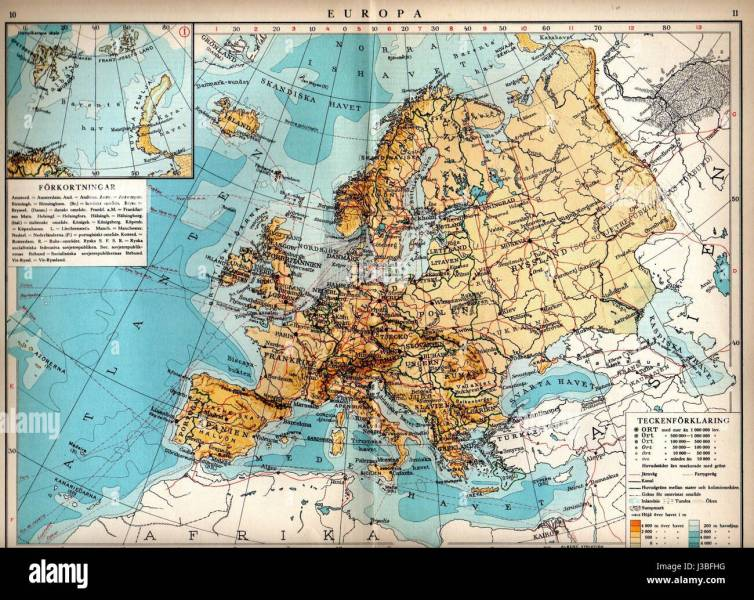 Europa map 1930  svatlas Stock Photo  139780636   Alamy Europa map 1930  svatlas