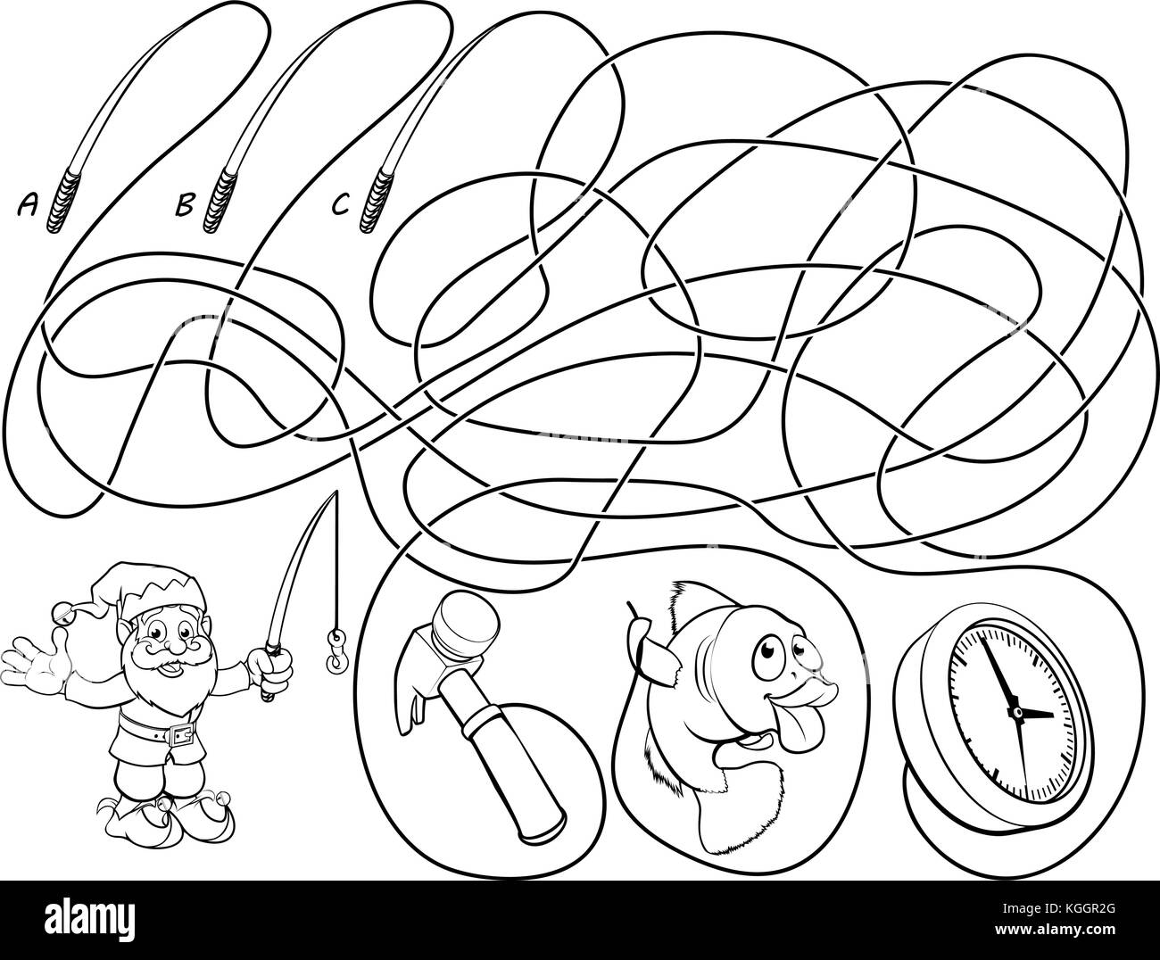 Cartoon Illustration Education Maze Labyrinth Stock Photos