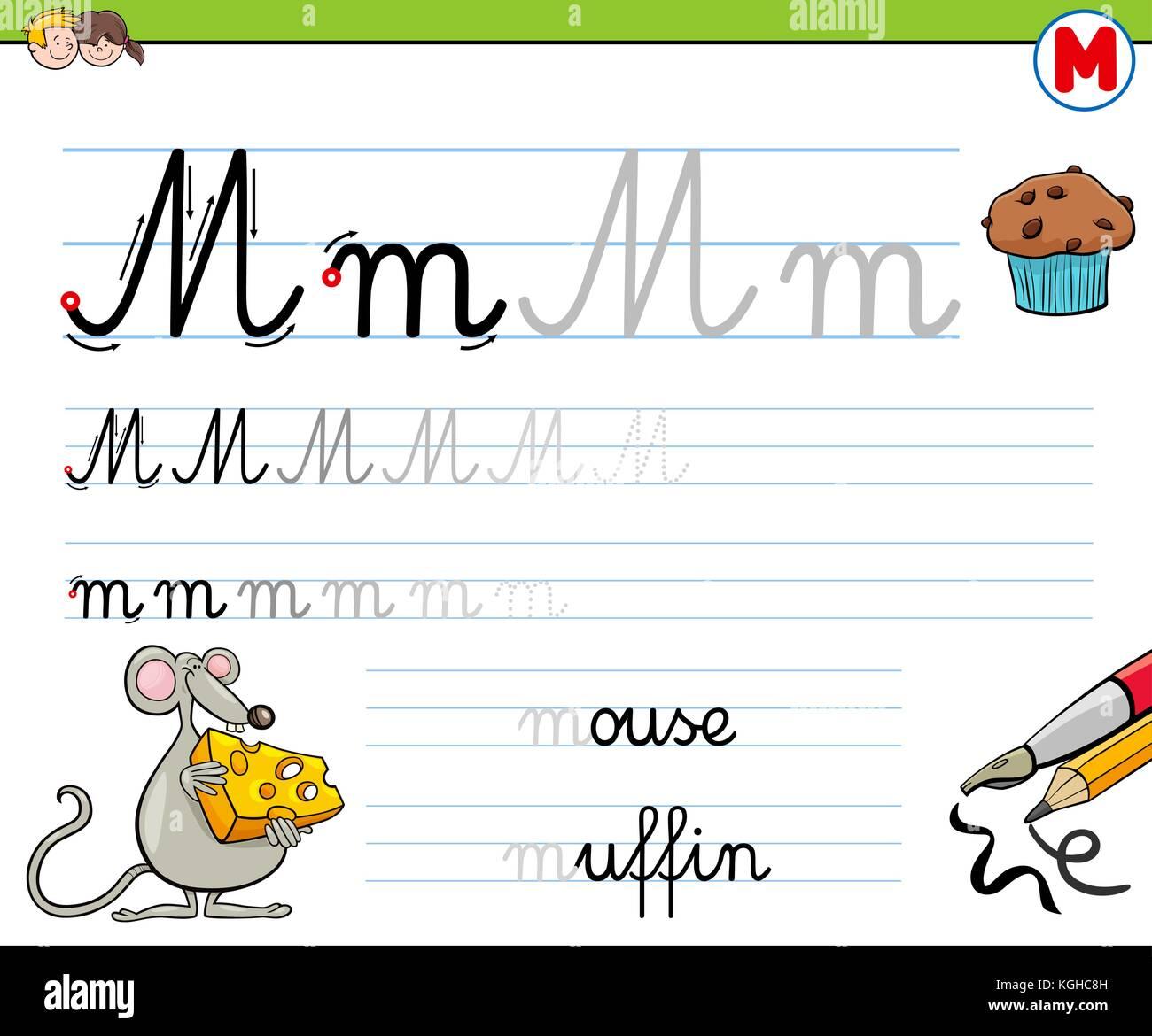 Cartoon Illustration Of Writing Skills Practice With