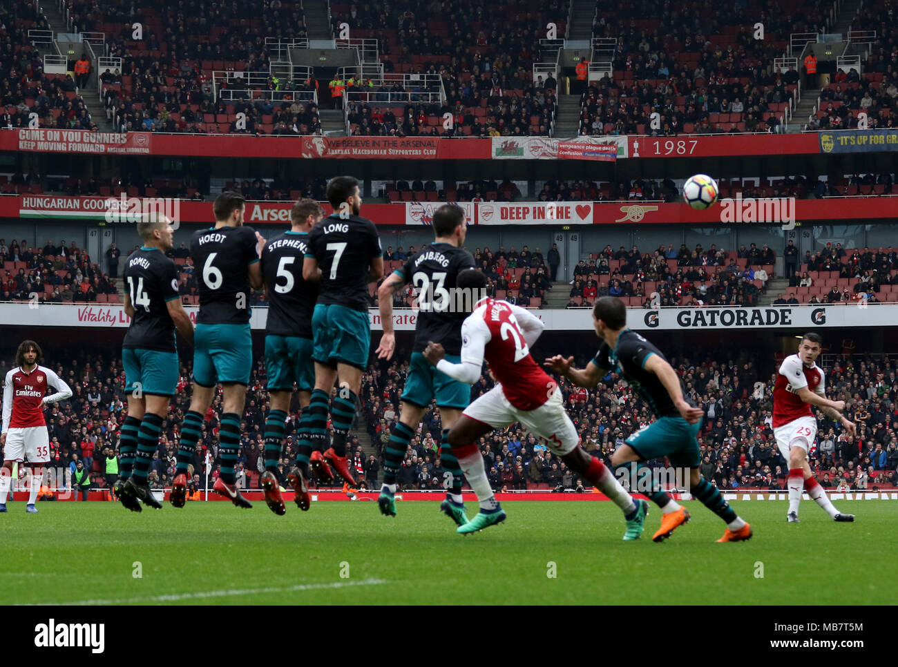Granit Xhaka A Fires In A Free Kick Over A Southampton Defensive Wall At The Arsenal V Southampton English Premier League Game At The Emirates Stadium