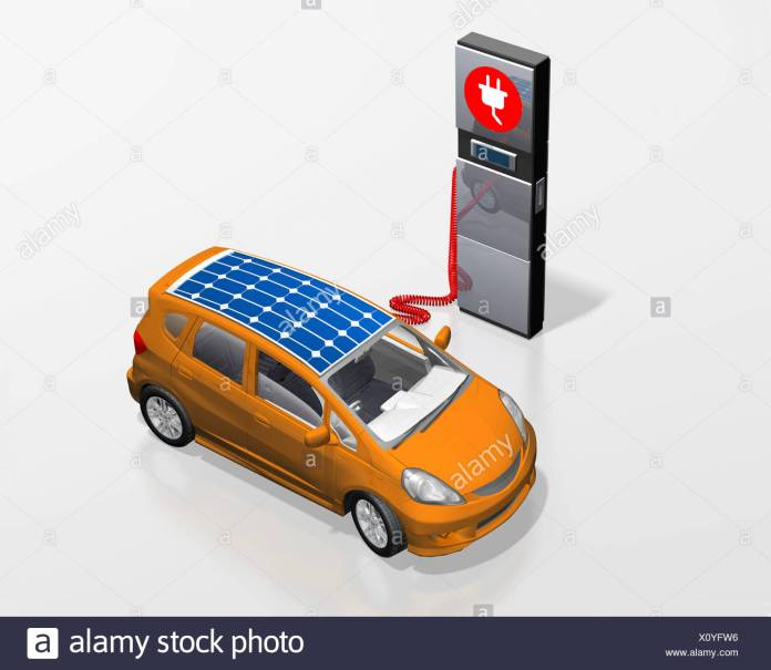 electric car with solar roof at a power station, illustration stock