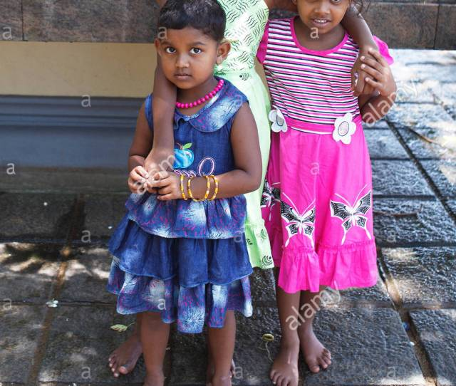 Young Girls Barefoot In The Temple Hall Dagoba Kalutara Western Province Ceylon Sri Lanka