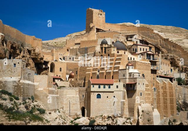 Great Lavra of St. Sabbas the Sanctified (Mar Saba) Greek Orthodox monastery, Kidron Valley, Palestine - Stock Image