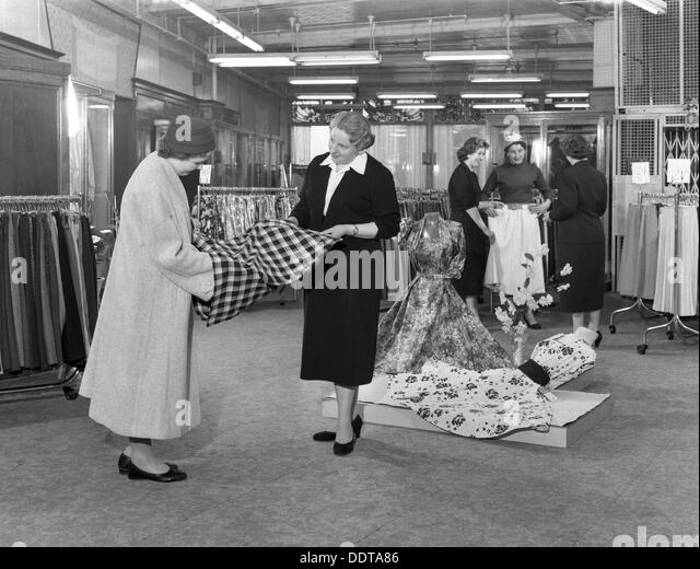 Ladies' clothing department, Barnsley Co-op, South Yorkshire, 1957. Artist: Michael Walters - Stock Image