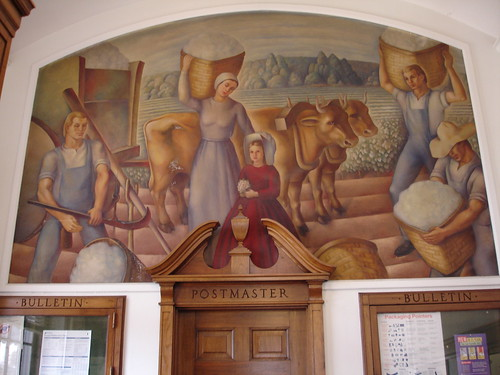 William Sherrill McCall, 'Early Settlers Weighing Cotton' at Montevallo Post Office, Alabama