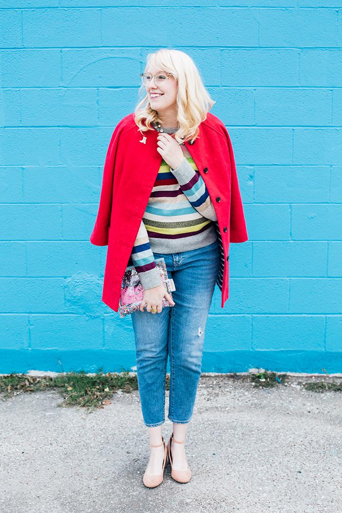 writes like a girl pink coat rainbow gap sweater7