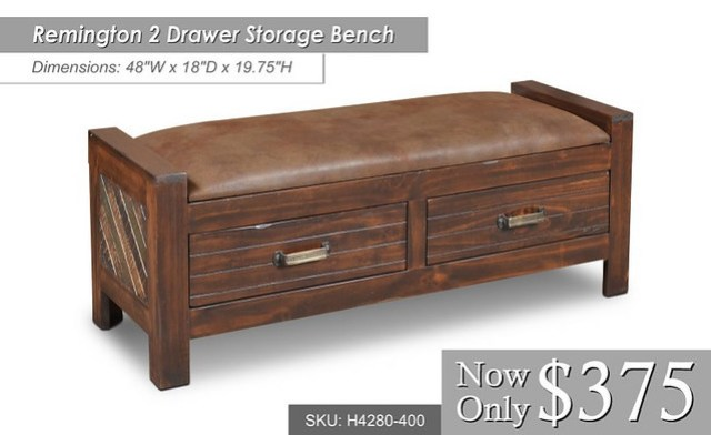 h4280-400 Remington 2 Dwr Storage Bench - Dimensions - 48 x 18 x 19 34 $375