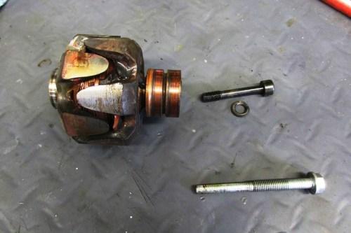 Alternator Rotor, Bolt, Washer and Rotor Removal Bolt (Bottom)