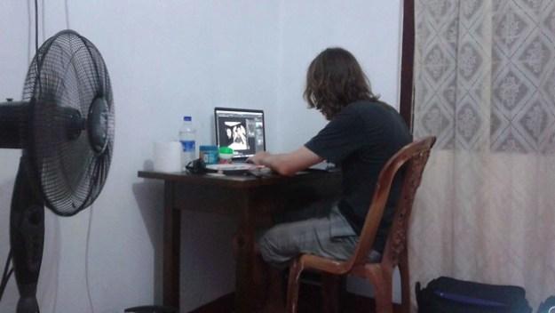 Kyle Working At Desk