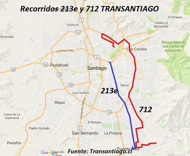 Mapa 213e y 712 Transantiago