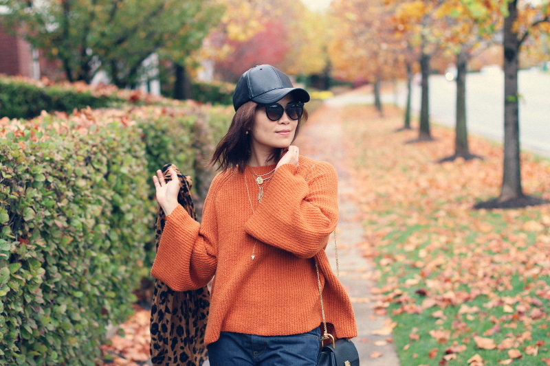 orange-rust-bell-sleeve-sweater-faux-leather-cap-leopard-scarf-6