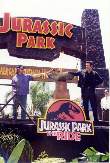 Goldblum & Spielberg open the JP ride at UniStudios Hollywood in 1996 2