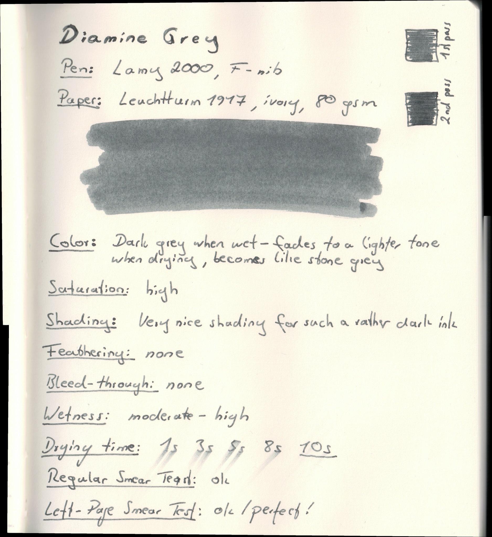 Diamine Grey on Leuchtturm