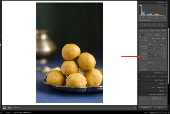 Whites, Lightroom Tutorial for Food photos, Lightroom tutorial, Editing RAW files in Lightroom,  Lightroom Food Tutorial, How to edit food photos in Lightroom,