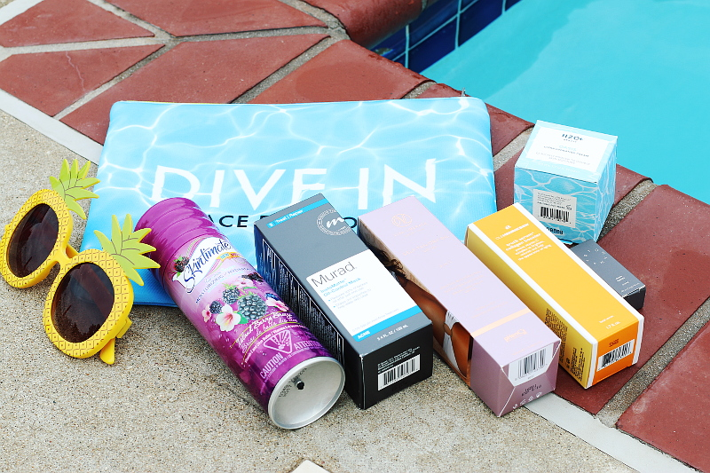 mimi beauty bag, pineapple sunglasses, pool, cosmetics, beauty products