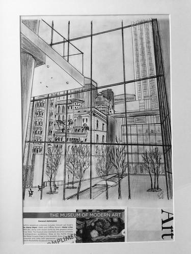 MoMA Garden, NYC. Lápiz y tinta sobre papel y collage. M.Carmen Voces, 2016