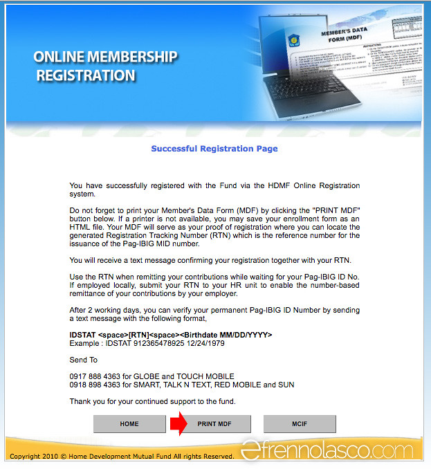Pagibig online registration step 10